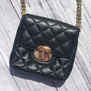 CALVIN KLEIN Black Quilted Leather Crossbody Bag